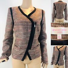 GHARANI STROK LONDON Size 14 Brown Teal Smart Casual Jacket Blazer Tweed Style