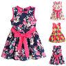 Kid Baby Girl Floral Skater Dress Sundress Flower Sleeveless Party Dresses 1-7Y