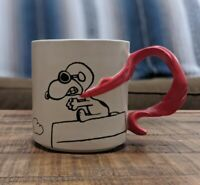 Hallmark Peanuts Snoopy Flying Ace With Scarf Handle Coffee Mug 12 - Chipped