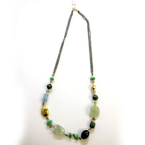 Mother's Day Gift Beaded Necklace Emerald Diamond Silver 18k Gold ACE-50041