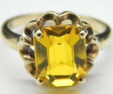Vintage 10k Gold Emerald Cut Yellow Glass Solitaire Ring 3.0 Carats Size 6