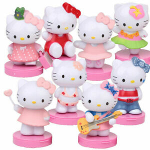 8PCS Action Figures Hello Kitty cat cake decoration landscape kid's toys gift