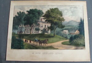 "Original 19th C Currier & Ives litho ""A NEW ENGLAND HOME""  *"