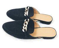 YOKI womens size 9 black velvet gold accent slip on mules flats shoes