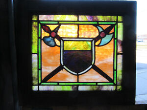 ~ ANTIQUE STAINED GLASS WINDOW COLORFUL ~ 21 x 19 ~ ARCHITECTURAL SALVAGE