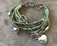 Leather Heart Charm Bracelet Green Leather With Heart Charms Heart Clasped