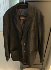 Mens Brioni Black Leather Sport Coat / Jacket Size 52
