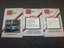 1988 GMC G10 G20 G30 Van Original Owner Owner's Operator User Guide Manual Set