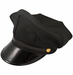 Mens Formal Black Chauffeur Hat Adults Novelty Chauffer Drivers Party Accessory