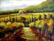 Vineyard in Tuscany Italy, Quality Hand Painted Oil Painting, 30x40in
