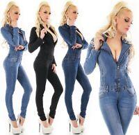 Langarm Jeans Overall Hose Jumpsuit Röhre Skinny Stretch Denim Einteiler S M L