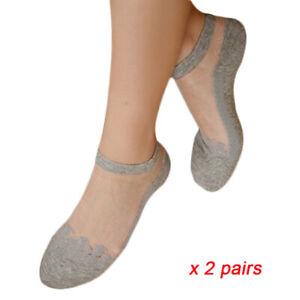 2/3/5Pair Women Cute Ultra Thin Transparent Crystal Silk Lace Elastic Ankle Sock