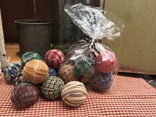 "Set 10 Mini Small 1 1/2"" 1.5"" Handmade Primitive Rag Balls Bowl Fillers Prim"