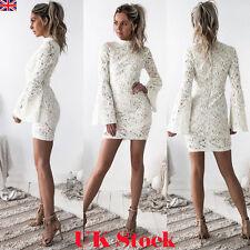 UK New Womens Bandage Bodycon White Lace Evening Party Cocktail Short Mini Dress