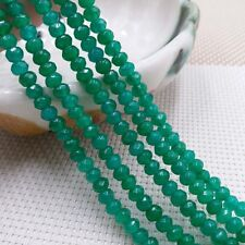 """Natural 4x6mm Green Emerald Faceted Rondelle Gemstones Loose Beads 15""""AAA"""