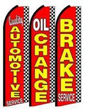 Quality Automotive, Oil Brake King Size  Swooper Flag Sign  W/Complete 3 Set