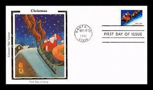 CHRISTMAS SANTA CLAUS REINDEER SLEIGH FDC COLORANO SILK CACHET US COVER