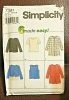Simplicity Pattern 7381 Misses' Tops & Jacket 6 made Easy! Size P 12,14,16 - New