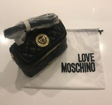NWT Love Moschino Ladies Top Zip Quilted Leather crossbody Bag Purse In black