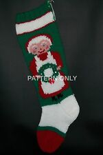 Pattern Only Hand Knitted Mrs. Claus With Wreath Christmas Stocking