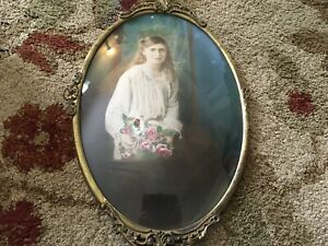 Antique Metal Oval Convex Glass Picture Frame w/ Victorian Woman Girl & Roses