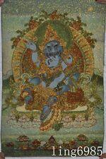 "24"" Tibet Buddhism cloth mahalaka green Jambhala Buddha statue thangkas tangka"