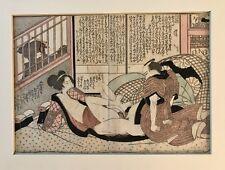 An Antique Japanese Woodblock Print Shunga Erotic Subject  Keisai Eisen