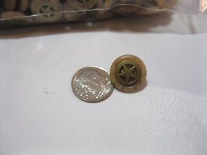 BUTTONS 8 PIECES  Gold Star Wood-like ROUND Buttons made for Western Shirts