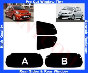 Pre-Cut Window Tint Toyota Aygo 5D 2005-13 Rear Window & Rear Sides Any Shade
