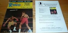 BECKETT-BAS GEORGE FOREMAN & JOE FRAZIER AUTOGRAPHED-SIGNED 1973 THE RING MAG 50