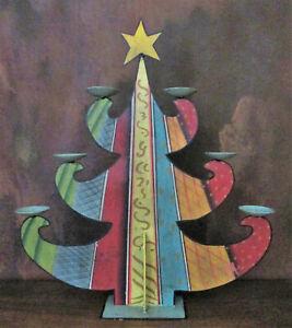 Weihnachtsbaum-Kerzenständer aus Metall, bunt