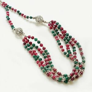 Indian Religious Sterling Silver Red Green Beaded Mala Gift For Him Men Jewelry