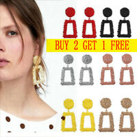 Jewelry Geometric Square Dangle Drop Earrings Studs Metal Statement Big Gold
