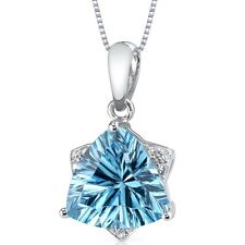 14k White Gold 2.39 cts Swiss Blue Topaz Diamond Pendant, 18""