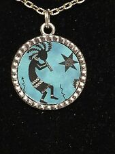 "BIN African Kokopelli Flute Player on Teal Charm Tibetan Silver 18"" Necklace"