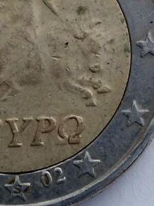 Greece 2 euro coin 2002 YOU GET ghost STAMP S letter on numerous Defects