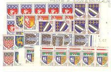 YVERT N° 1351A à 54B x 10 BLASONS TIMBRES FRANCE NEUFS sans CHARNIERES