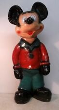 """1930's Chalkware Mickey Mouse Piggy Bank Black Hands Green Pants 20"""" tall SALE!"""