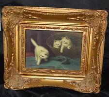 Wonderful Oil Painting on Board -3 Cats in a Basket - Gilded Wooden Frame