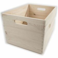 XLarge Wooden Open Crate Non-lidded DIY Storage Trunk Chest Toy Box Organiser