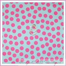 BonEful Fabric FQ Cotton Quilt Paris Bebe VTG Aqua Blue Pink Minnie Polka Sm Dot