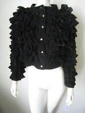 Asprey London Black Lamb Leather Tiered Ruffle Jacket 42 Rare!