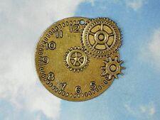 1 Gears & Watch Clock Face Pendant Gold Tone Steampunk Timepiece Large #P850