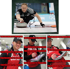 """BRAD JACOBS signed """"2014 SOCHI OLYMPICS"""" 8X10 Photo PROOF (D) Gold Medal Curling"""