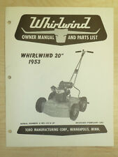 "1953 Toro Mower Operating Parts Manual Model Whirlwind 20"" Sn# 4 - Wo -101 & Up"
