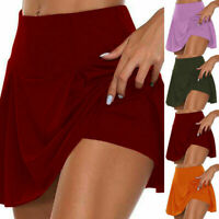 Womens Athletic Pleated Tennis Golf Skirt with Shorts Workout Running Skorts #B