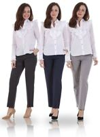 Ladies Smart Work Straight Leg Office Formal Woman Stretch Trousers