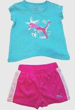 PUMA Shorts & T-Shirt Top Baby/Toddler Girls Two-Piece Set Pink/Blue/White NWT