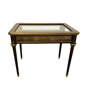French Directoire Style Tulip Wood & Bronze Table Vitrine