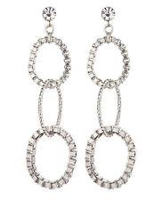 CLIP ON EARRINGS - silver drop earring with three linked rings - Kaiya S